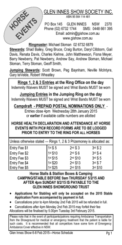 2015 Horse Ring Schedule - The Glen Innes Show Society