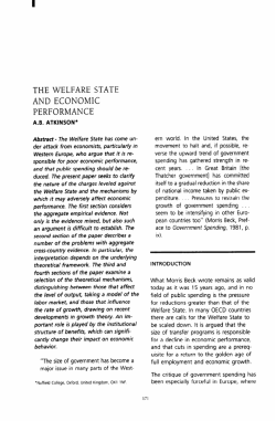 THE WELFARE STATE AND ECONOMIC PERFORMANCE