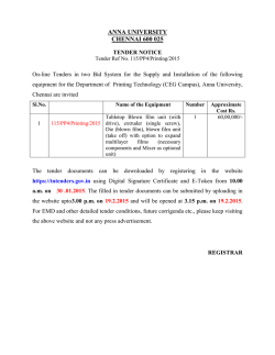 Tender Notifications - Department of Printing