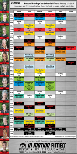 Personal Training Class Schedule Effective