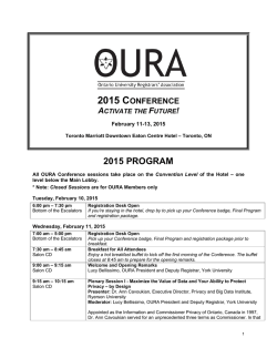 OURA 2015: ACTIVATE THE FUTURE! Program Outline