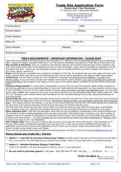 Trade Site Application Form