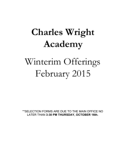 Winterim Catalog 2015 - Enrolled Families