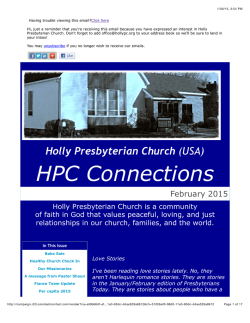 Newsletter - Holly Presbyterian Church
