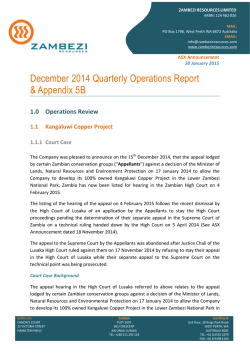 December Quarterly Report and Appendix 5B