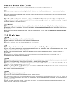 College 12th Grade Checklist