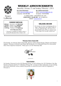 Weekly Announcements 2/1/15