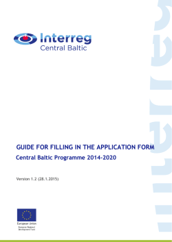 Guide for filling in the Application form version 1.2