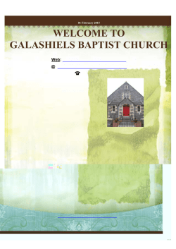WELCOME TO GALASHIELS BAPTIST CHURCH