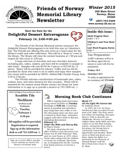 Friends of Norway Library Winter 2015 Newsletter