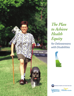 The Plan to Achieve Health Equity for Delawareans with Disabilities