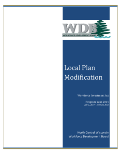 Local Plan Modification - North Central Wisconsin Workforce