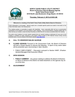 Download the agenda - North Tahoe Public Utility District