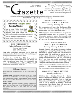 February 1_2015 Gazette - Unitarian Universalist Fellowship