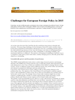 Challenges for European Foreign Policy in 2015