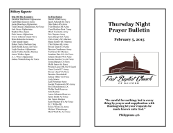 Thursday Night Prayer Bulletin