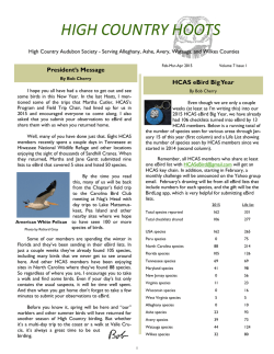 newsletter - High Country Audubon Society