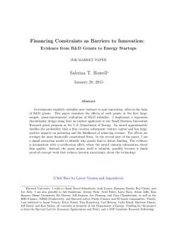 Financing Constraints as Barriers to Innovation