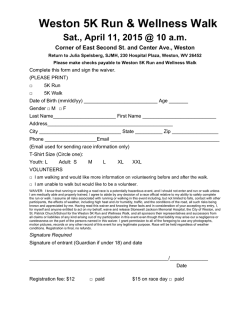 2015 Weston 5K Registration - Stonewall Jackson Memorial Hospital