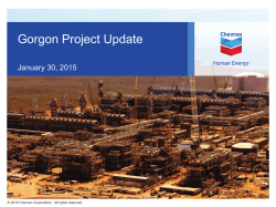 Gorgon Project Update Selected Images, January 30, 2015