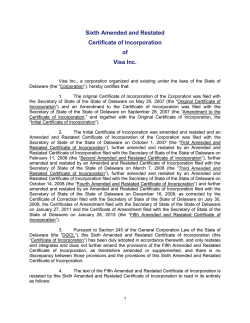 Sixth Amended and Restated Certificate of