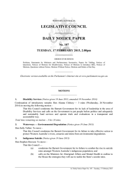 Notice Paper No 107 - Parliament of Western Australia