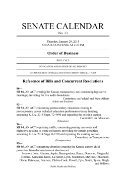 Thu Jan 29 2015 - Kansas Legislature