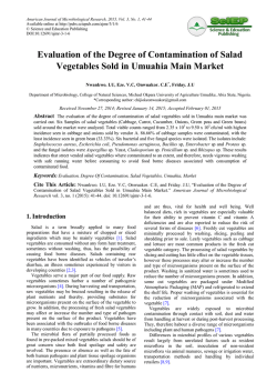 Evaluation of the Degree of Contamination of Salad Vegetables