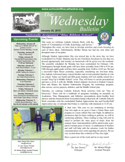 Weekly Bulletin - School of the Cathedral Mary Our Queen