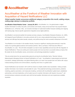 AccuWeather at the Forefront of Weather Innovation with Acquisition