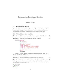 Programming Paradigms: Exercises
