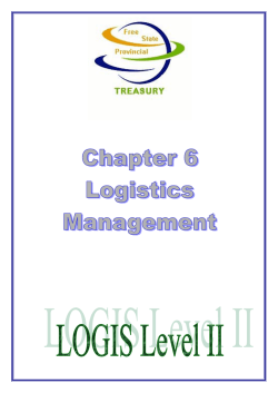 Chapter 006 Logistics Management - Free State Department of Health