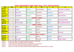 Final Assessment Time Table - Don Bosco High School, Liluah