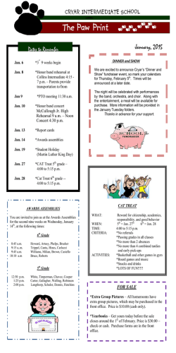 Monthly Newsletter - Cryar Intermediate School