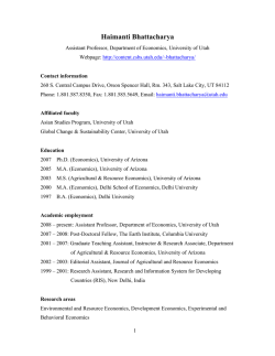 Curriculum Vitae - Department of Economics