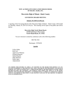 Notice of Miami-Dade Meeting 1.29.15