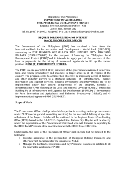 Procurement Officer - Philippine Rural Development Program
