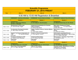 Scientific Program 27th Feb, 2015