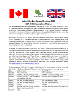 United Kingdom General Elections 2015 ISCA-AIDC - ISCA