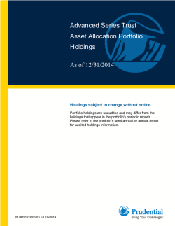 Advanced Series Trust Asset Allocation Portfolio Holdings