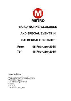 Calderdale: roadworks, road closures and special events
