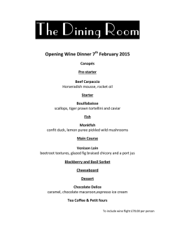View the menu here - Rose in Vale Hotel