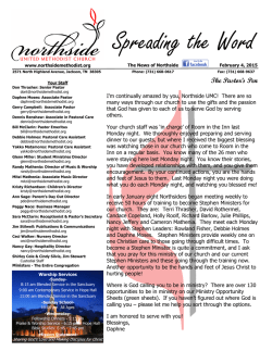 Get Our Newest Newsletter (pdf) - Northside United Methodist Church