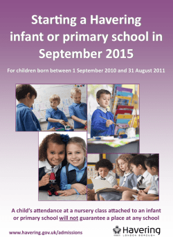Starting a Havering infant or primary school (September 2015)