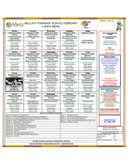 MULLICA TOWNSHIP SCHOOL FEBRUARY LUNCH MENU