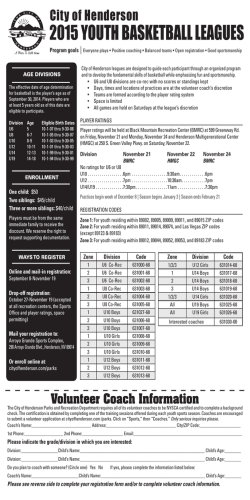 Youth Basketball Registration form