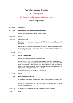 Nephrology for acute physicians Course Programme*