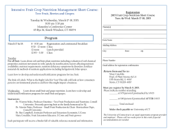 Intensive Fruit Crop Nutrition Management Short Course: Program