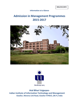 Admission in Management Programmes 2015-2017