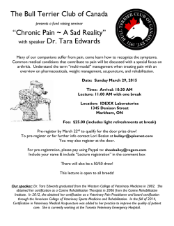 "The Bull Terrier Club of Canada ""Chronic Pain ~ A Sad Reality"" with"